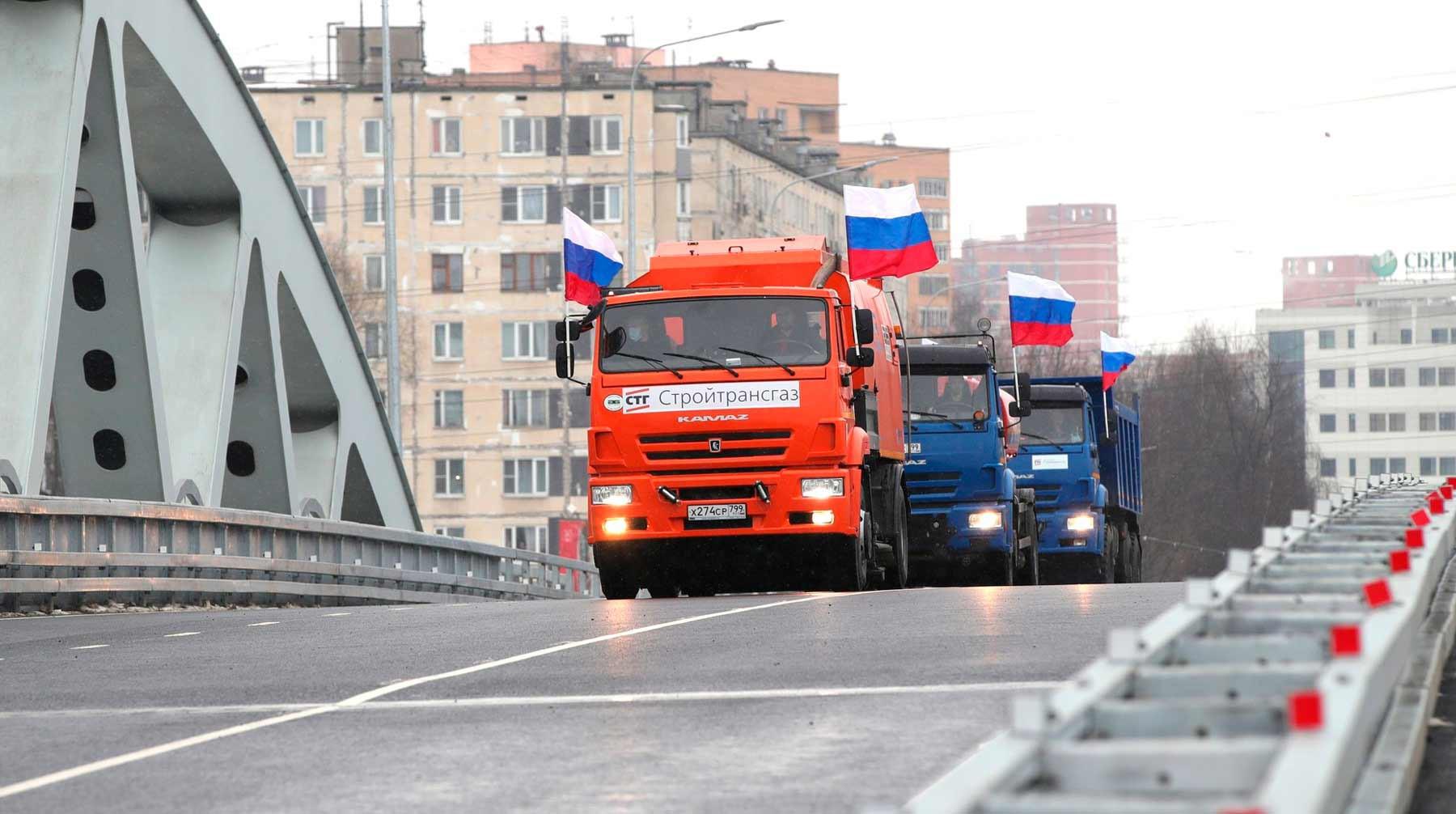 Путин открыл движение по транспортной развязке в Химках